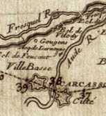 map showing the Cite of Carcassonne, the Bastide and the river Fresquel