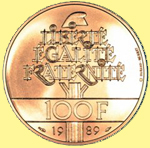 100 Franc coin of 1989. Note the Phrygian cap as well as the motto.