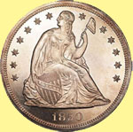 A US coin of 1850 shows Liberty holding a �Liberty Pole� with a Phrygian hat on it.