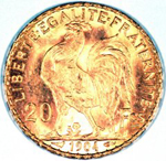 1904 French Gold Coin featuring a cockeral as well as the French Motto