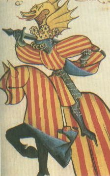 the King of Aragon wearing a Coat of Arms and mounted on a caparisonned steed.