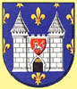 The modern Coat of arms of Carcassonne with the arms of the kingom of France in the background