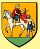 Coat of arms of Limoux - the figure is St Martin, the town's patron saint.