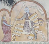 The Viscount of Carcassone as depicted on a modern mural in Carcassonne
