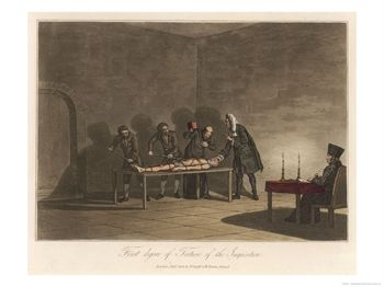 """First Degree of Torture of the Inquisition"", The Victim is Bound on a Table"