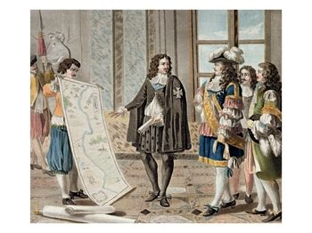 Jean Baptiste Colbert Presents the Map of the Canal Du Languedoc to Louis XIV