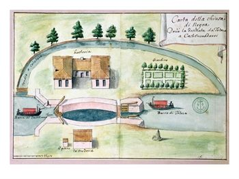 Drawing of the Lock at Negra on the Canal Du Midi
