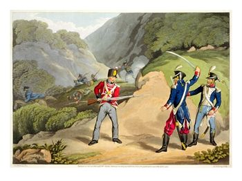 A British Soldier Taking Two French Officers at the Battle of the Pyrenees