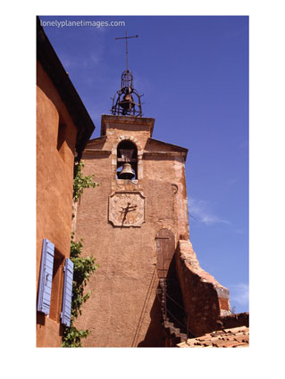 Clocktower in Village Built with Local Red Ochre Stone, Roussillon, France