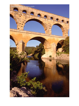 Pont Du Gard from Riverbank, Languedoc-Roussillon, France
