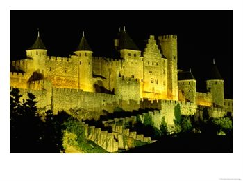 "Chateau Comtal and Medieval Walled City at Night Above ""New Town"", Carcassonne, France"