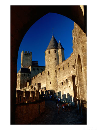 Tourists Wander Around Ramparts of Medieval Walled City, Carcassonne, France